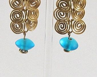 Earrings - Brass Swirls And Teal Beads (E035)