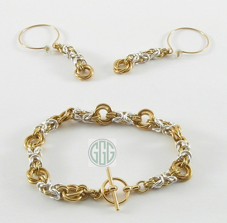 bd0a8397fd9c Pulsera y aretes plata de oro cadena de Maille S023 de