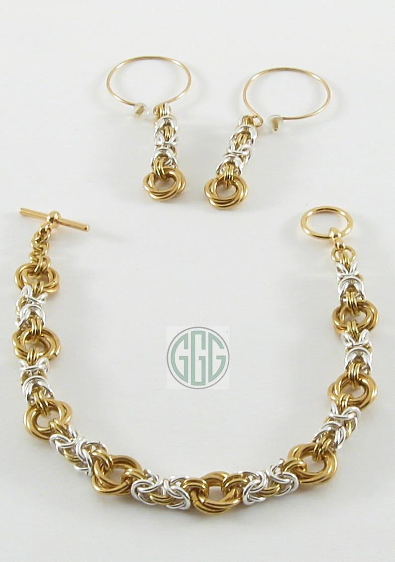 2f0dd9b452b8 Pulsera y aretes plata de oro cadena de Maille S023 de