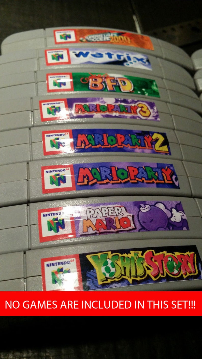 Nintendo N64 cartridge spine top end labels  all U.S. games image 0