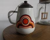 coffee pot, enamel coffee pot, bayon decor, Grand mere France