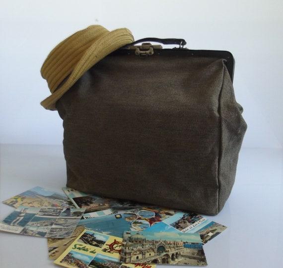 French handbag, gladstone bag, doctor's bag , vint