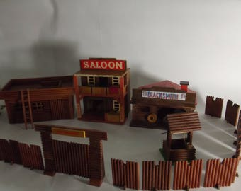 vintage wooden toy wild west town, wild west fort, cowboys and indians, texas