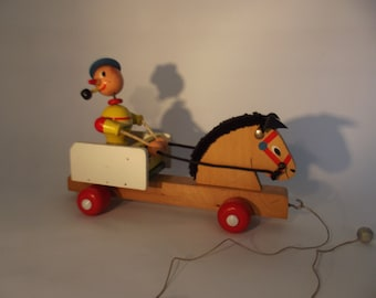 vintage wooden pull along toy, horse and wagon