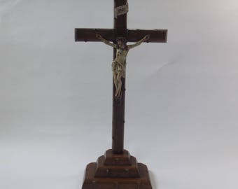 vintage standing crucifix, hand carved wooden cross