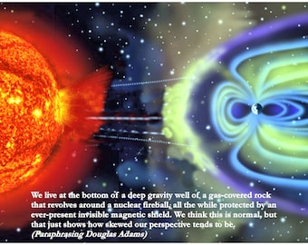 Douglas Adams Quote and Photo Illustration of Earth and Sun