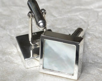 Mother of Pearl Cufflinks in Sterling Silver