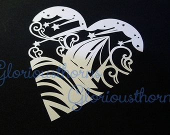 Paper cutting template in heart shape, Ship, Meteors,sea and the wind