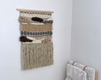 "Woven Wall Hanging, Handmade Tapestry, Mid Century Modern, Boho Decor, Macrame Wall Hanging,  ""Mini Stones"""