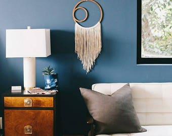 Macrame Wall Hanging, large woven wall hanging, wood art, woven wall hanging, home decor, fiber wall art, The River Haze Shop Crescent Moon