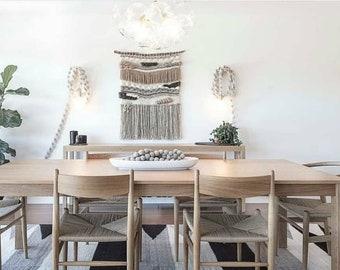 "Woven Wall Hanging, Macrame Wall Hanging, Textile fiber art, ""Pebbles"""