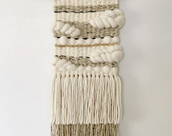 """Woven Wall Weaving Macramé Hanging, Tapestry """"Neutral Clouds"""""""