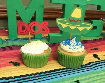 12 Fiesta Party cupcake toppers