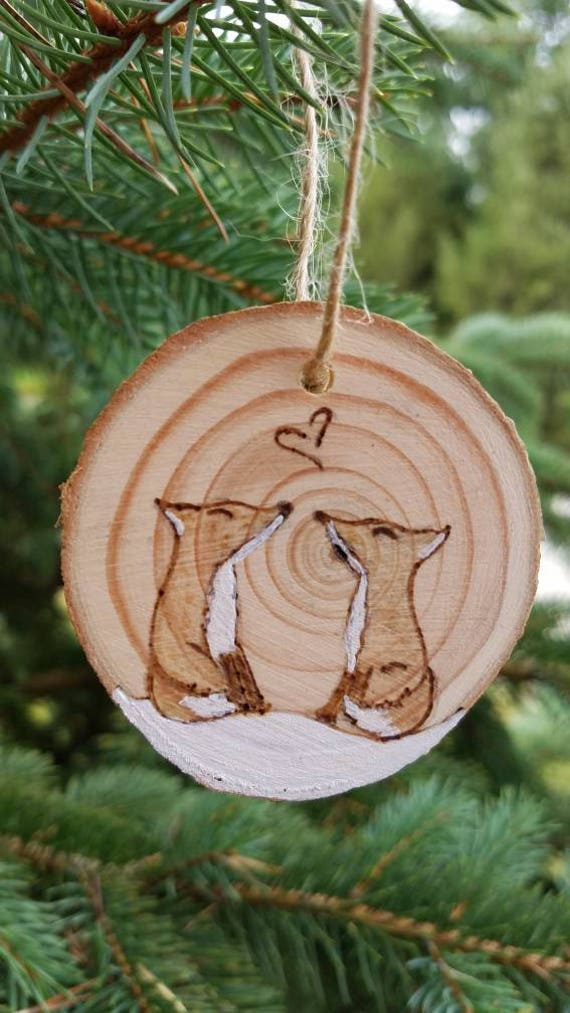Rustic Wood Burned Fox Ornament Hand Painted Wood Slice Rounds Our First Christmas Wood Burned Ornament Hand Painted Burned Wood Slices