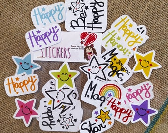 Stickers collection Be happy ... stickers, funny stickers