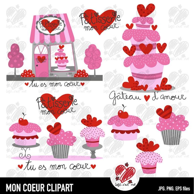 cake and cupcakes clip art instant download Cake shop Mon amour Clip art...Cake shop