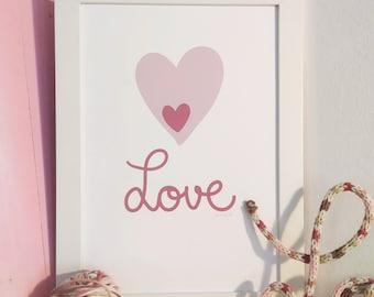 Love heart, decorative sheet .... decorative drawing