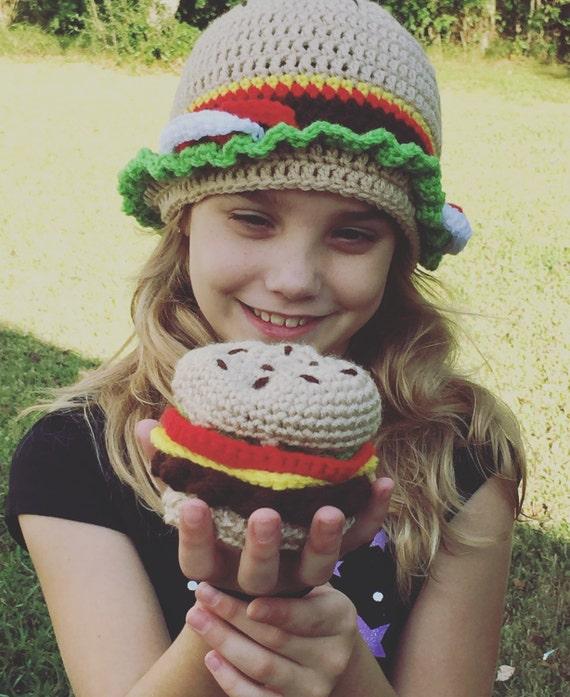 Ganchillo gorro hamburguesa sombrero de hamburguesa | Etsy