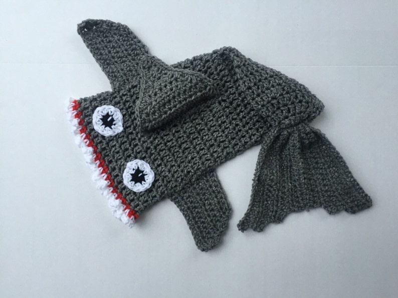 Crochet Shark Shark Blanket Newborn Outfit Cacoon Shark Photo Prop Crochet Newborn Outfit Crochet Shark Sac Newborn Photo Prop Set