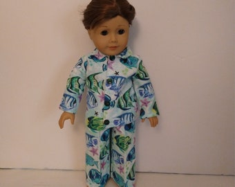 18 inch boy doll clothes, Flannel Pajamas fits American Girl 18 in Boy Dolls, Clothes Handmade in America m459c