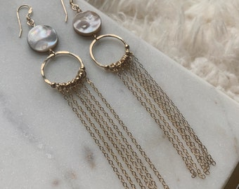 Mother of Pearl Dangle Earrings • Gold-filled Chain Waterfall Earrings • Boho Bridal Earrings • Gift for Mom, Girlfriend, her •