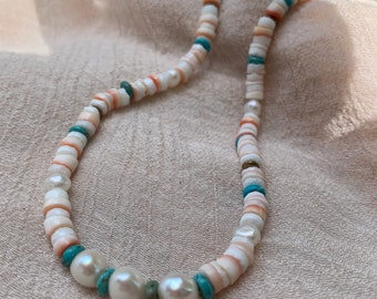 Beaded Pearl and Shell Choker • Beaded Pearl Necklace • Pearl and Colorful Bead Choker • Gifts for her • Shell necklace • Color Pop necklace