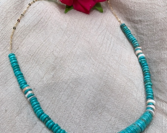 Beaded Turquoise Magnesite Necklace • 14K Goldfilled Chain • Southwest Beaded Necklace • Colorful beaded necklace • gifts for her