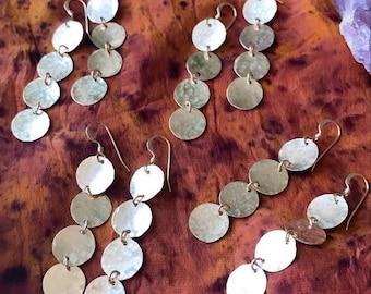 Hand hammered Multi Coin Dangle Earrings • Multi Coin Earrings • Bridal Earrings • Boho Bridal • Gifts for mom, girlfriend, Bridesmaid •