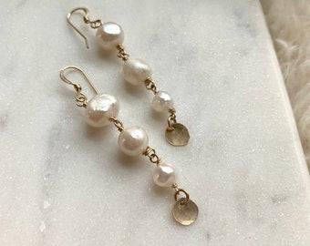 Multi Pearl Dangle Earrings • FreshWater Pearl Earrings • Gift for mom, girlfriend, bridesmaid • Boho Bridal Earrings • Pearl Earrings •