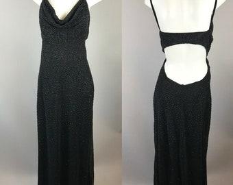b22ed996d359 Vtg 90s Tadashi Black Beaded Backless Gown Dress Maxi Slinky Size XL Nylon  Blend
