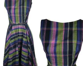 2488fdfe176 Vtg 50s Womens Purple Green Plaid Sleeveless Day Dress w  Belt Fit Flare  Small