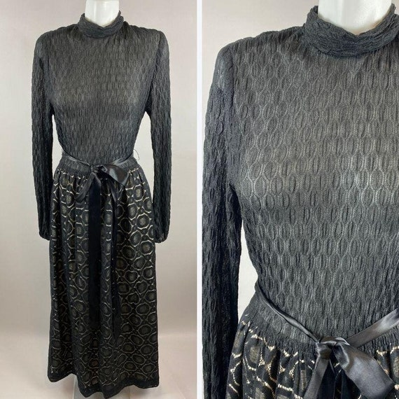 Vtg 70s Young Edwardian Arpeja Long Sleeve Maxi Dr