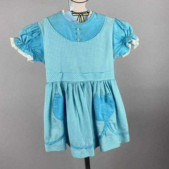 Vtg teen 50s cotton dress Size 13Y Vintage girls blue cotton fit and flare 50s Saks Fifth Avenue dress as-is