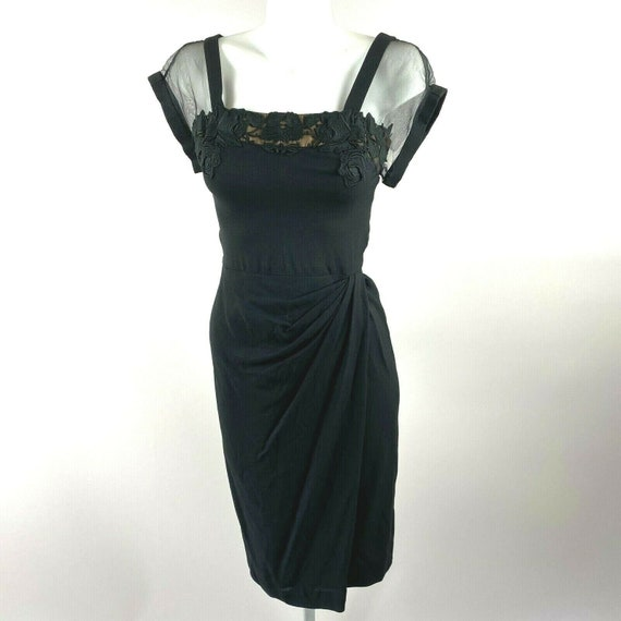 Vtg 40s 50s Dorothy O'Hara Black Rayon Dress Flora