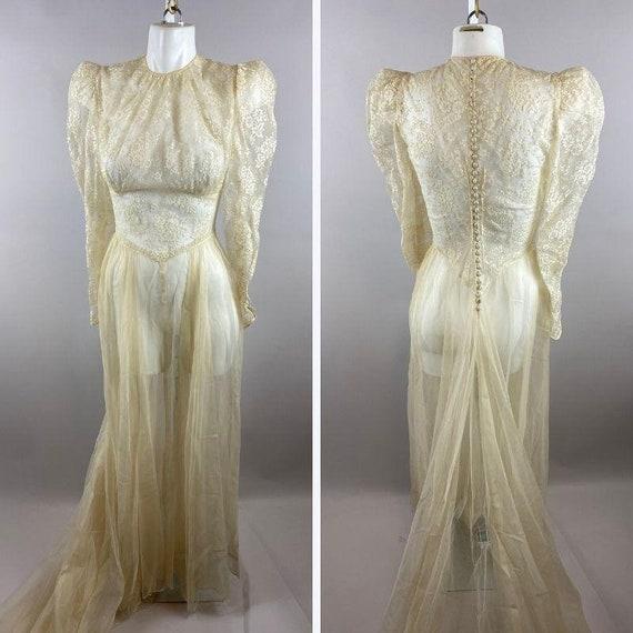 30s 40s Cream Lace Wedding Dress Puffy Womens XS/S