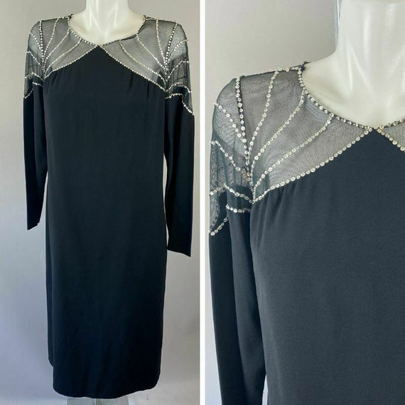 Vtg 80s Victor Costa Black Shift Dress Mesh Spider