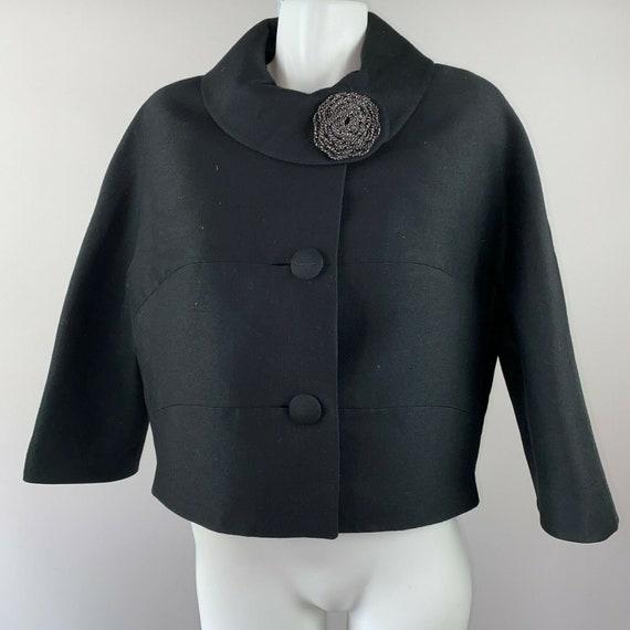 Vtg 50s Black Wool Evening Jacket Cropped Floral C