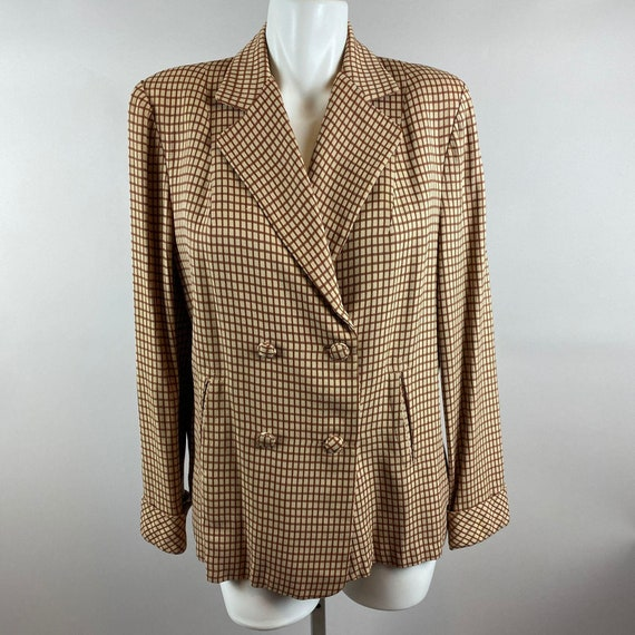 Vtg 40s 50s Brown Checker Blazer Double Breasted G