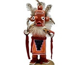 5 Inch Authentic Mudhead Kachina Doll, Genuine Navajo Native American Tribe Handmade, Artist Signed,Southwestern Collectible Figurine