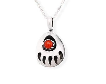Genuine Red Coral Bear Paw Necklace Native American USA Handmade 925 Sterling Silver Pendant and Chain Set Nickel Free