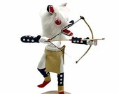7 Inch Authentic White Wolf Kachina Doll, Genuine Navajo Native American Tribe Handmade, Artist Signed, Southwestern Collectible Figurine