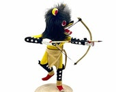 7 Inch Authentic Yellow Wolf Kachina Doll, Genuine Navajo Native American Tribe Handmade, Artist Signed, Southwestern Collectible Figurine