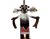 7 Inch Authentic Mudhead Kachina Doll, Navajo Native American Tribe Handmade in the USA, Artist Signed, Southwestern Collectible Figurine