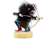 4 Inch Authentic Crouching Wolf Kachina Doll, Turquoise, Navajo Native American Tribe Handmade, Artist Signed, Southwestern Collectible