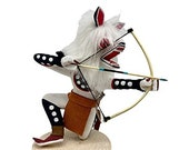 6 Inch Authentic Crouching White Wolf Kachina Doll, Navajo Native American Tribe Handmade, Artist Signed, Southwestern Collectible Figurine