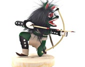 4 Inch Authentic Crouching Green Wolf Kachina Doll, Genuine Navajo Native American Tribe Handmade in the USA, Artist Signed, Southwestern