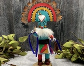 8 Inch Authentic Rainbow Kachina Doll, Genuine Navajo Native American Tribe USA Handmade, Artist Signed, Southwestern Collectible Figurine