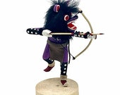 7 Inch Authentic Purple Wolf Kachina Doll, Genuine Navajo Native American Tribe Handmade, Artist Signed, Southwestern Collectible Figurine