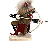 4 Inch Genuine Crouching Brown Wolf Kachina Doll, Navajo Native American Tribe Handmade in the USA, Artist Signed, Natural Materials
