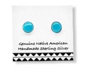 4mm Genuine Sleeping Beauty Turquoise Stud Earrings in 925 Sterling Silver, Native American USA Handmade, Nickle Free